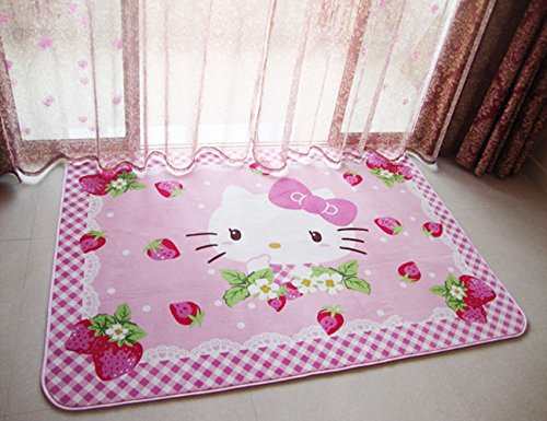 Hello Kitty Carpet (Sport do Cartoon Anti-Skidding Children Carpet,Comfortable Kids Bedroom Playing/Crawling Mat,Hello Kitty Living Room Area Rugs,Soft Yoga Carpet,55