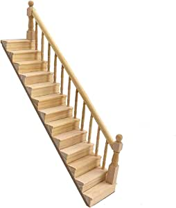 WFZ17 Miniaturas Decoración Ornamento, 1/12 Escalera de Madera Stringer Escalera con barandilla Modelo Muñeca Casa Decoración -: Amazon.es: Hogar