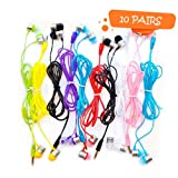Life.Idea 3.5mm Color Earphones - Package of 10 Pairs, 8 Different Colors, Metal Like Earbuds, Cool and Stylish, Wholesale Bundle, Wide Compatibility (8 Colors/10 pcs)