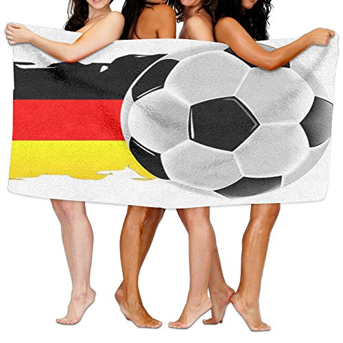 Germany Flag With Soccer Withe Fashion 3D Printed Bath Towels Beach Towels Adults Soft And Comfortable Shower Towel Swim Towel by Opira Fgas