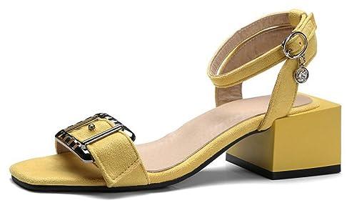 Chaussures à bout carré Aisun jaunes femme Coût Prix Pas Cher Acheter Pas Cher Magasin Livraison Rapide La Vente En Ligne Moins Cher In3WunGXQ