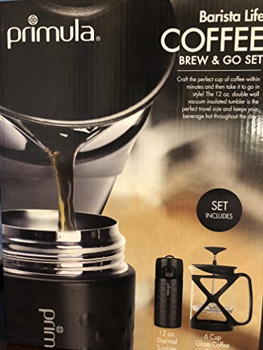 French Tumbler Set (Primula Color Tempo 6 Cup Glass Coffee French Press & 12oz Thermal Tumbler Go Set (Black))