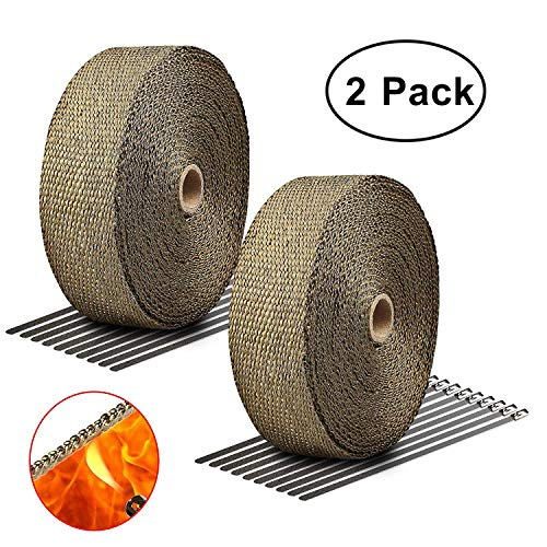 LIBERRWAY Exhaust Wrap 2 x50Ft Heat Wrap Tap Header Glassfiber for Car Motorcycle + 10 Stainless Ties 2 Pack