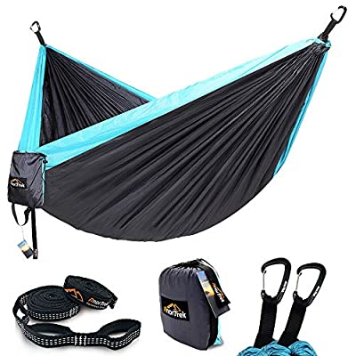 AnorTrek Camping Hammock, Lightweight Portable Single & Double Hammock with Tree Straps [10 FT/18+1 Loops], Parachute Hammock for Camping, Hiking, Garden, Yard