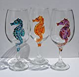Multi Colored Seahorse 20 oz. Hand Painted (Set of 3) Stemmed Wine Glasses, Coastal Kitchen Decor Review