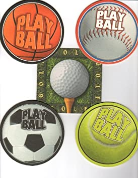 Amazon.com : 8 Absorbent Drink Coasters Play Ball Motif ...