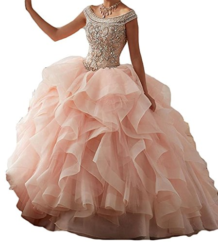 Women Crystal Beaded Bodice With Flounced Ball Gown Quinceanera Dress 6 US Blush Pink