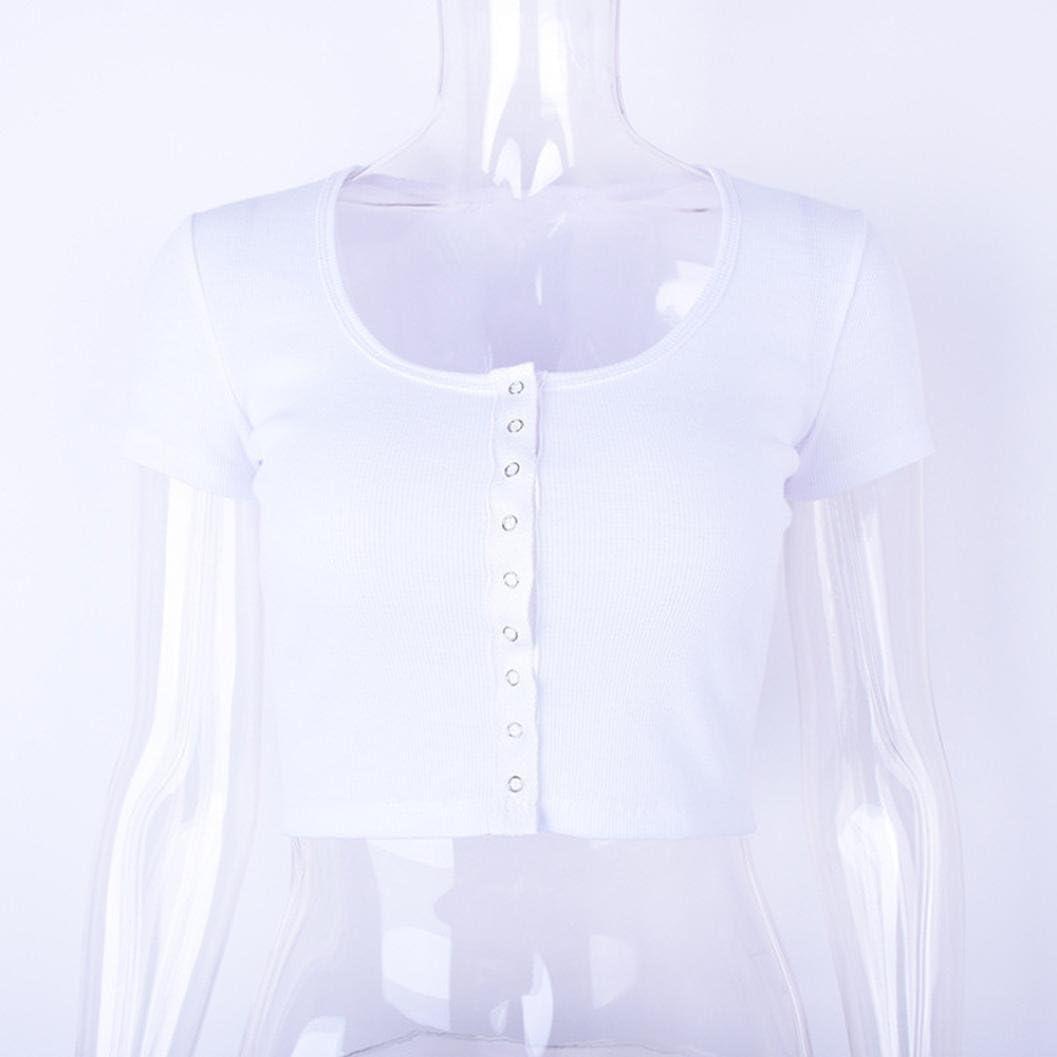 WM /& MW Girls Womens Tops V-Neck Button White Crop Tops Club Blouse T-Shirt