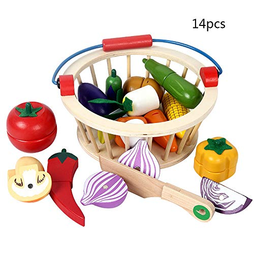 Dinner Play Basket Foods (Mokylor Play Food Set ,Cutting Cooking Toy, Wooden Food, Pretend Play Kitchen Set, Magnetic Wooden Cutting Vegetables Food Play Toy Set with Basket for 2- 6 Year Old Kids, Boys Girls 14Pcs)