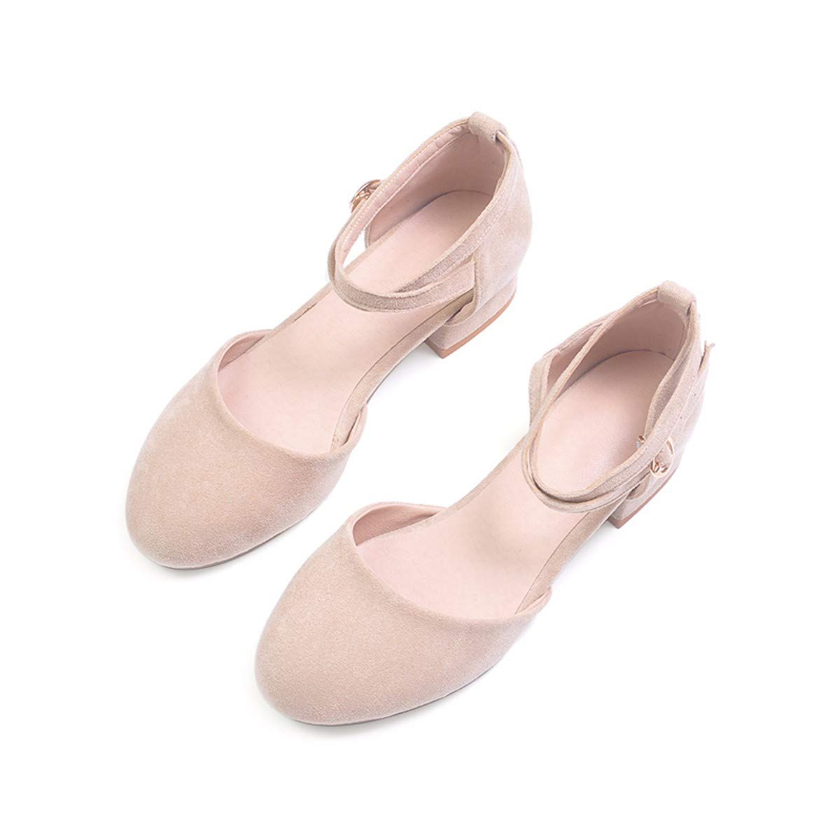 KPHY-Baotou Sandaleen Mädchen Studenten - Joker Flachen Boden Einfache Bindung Mädchen Retro - cm 35 Aprikosen - Farbe