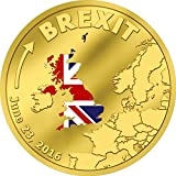 BREXIT COIN 1/10 TENTH OZ 24K GOLD PROOF COIN in Capsule with Certificate of Authenticity - JUNE 23 2016 Cook Islands $20 Dollars - MINTAGE OF ONLY 2016 PIECES