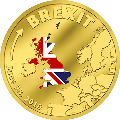 BREXIT COIN 1/10 TENTH OZ 24K GOLD PROOF COIN in Capsule with Certificate of Authenticity - JUNE 23 2016 Cook Islands $20 Dollars - MINTAGE OF ONLY 2016 ()