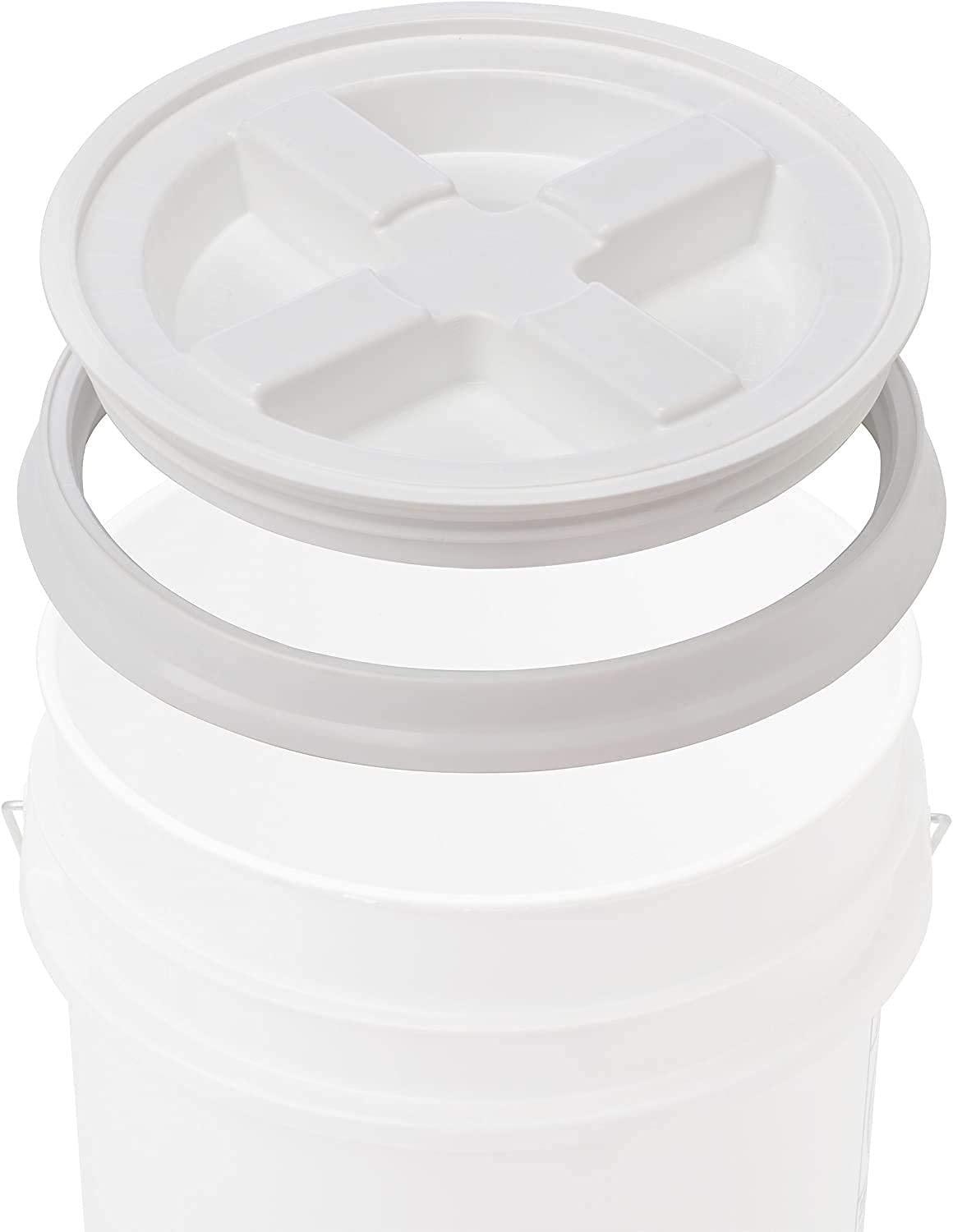 Gamma Seal Lid - White Storage Plastic Container Cover - Food Grade Gasket Airtight Lids - Screw Seal Multipurpose Covers - Fits 3.5 5 7 Gallon Buckets (3 Pack, White)