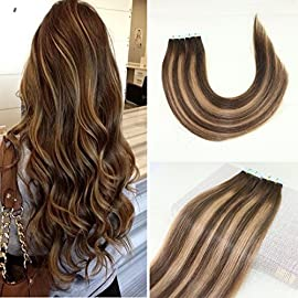 BeautyMiss 14-24″ 40Pcs/100g100% Straight Remy Hair Tow Tone #4 Dark Brown and #27 Honey Blonde with #4 Balayage Highlights Seamless Tape in Hair Extensions Colorful Ombre Hair