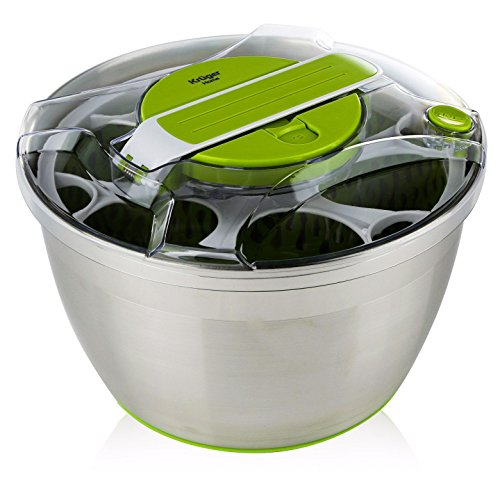Large Stainless Steel Salad Spinner - with Lid and Plastic Colander, Push Down Lever, Non Slip Base, Dishwasher Safe, by Kruger - Salad Safe Spinner Dishwasher