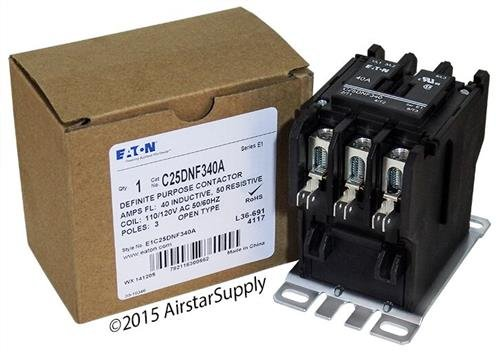 Replacement for Allen Bradley 400-DP40ND3 - Replaced by Eaton/Cutler Hammer C25DNF340A 50mm DP Contactor, 3-Pole, 40 Amp, 120 VAC Coil Voltage