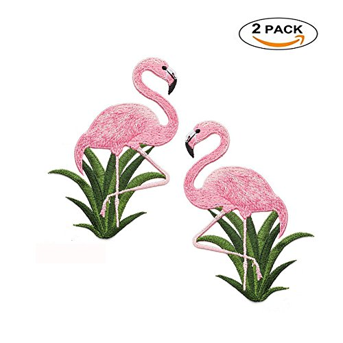 Flamingo Patches for Clothing Bag Sticker Sew On Embroidered Fabric Appliques Sewing Accessories