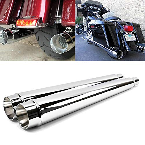 "BBUT 4"" Outlet Chrome Megaphone Slip-On Mufflers Exhaust Pipes For 1995-2016 Harley Davidson Touring Models Road King Electra Glide Street Glide Road Glide Ultra Classic FLHR FLHT FLTR FLHX"