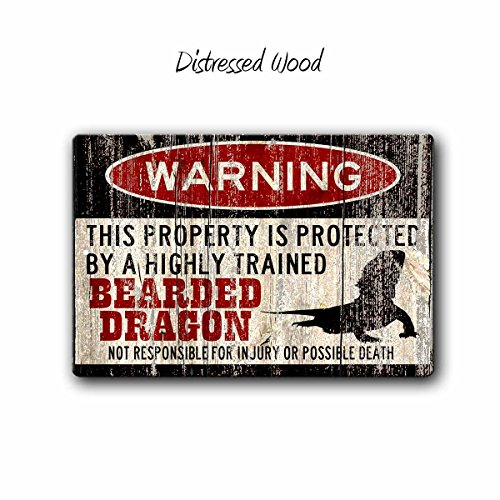 Distressed Dragon - Bearded Dragon Warning Sign, Funny small Pet sign, Lizard warning sign