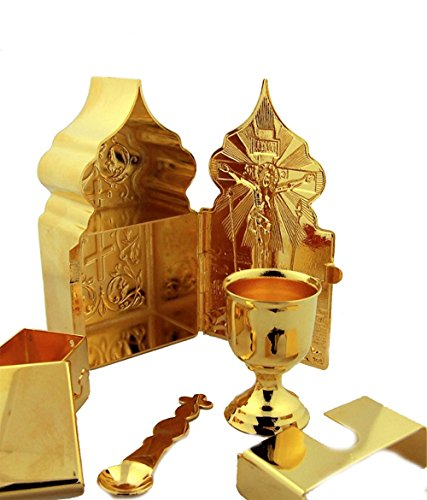 (Religious Gifts Gold Tone Travel Tabernacle Chalice Travel Mass Kit 4 Inch)