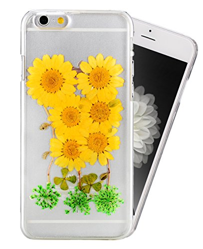iPhone 6s Plus Case, Crosspace iPhone 6 Case Custom Real Floral Pressed Handmade Clear Cover Personalized Dried Flower Preservation Hard Shell for Apple iPhone 6s Plus and iPhone 6 Plus 5.5
