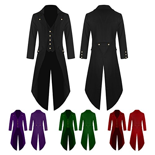 Pictures Of Weird Halloween Costumes (KASST Men's Gothic Tailcoat Victorian Costume Steampunk Jacket for Halloween Party (XXXXL, Red))