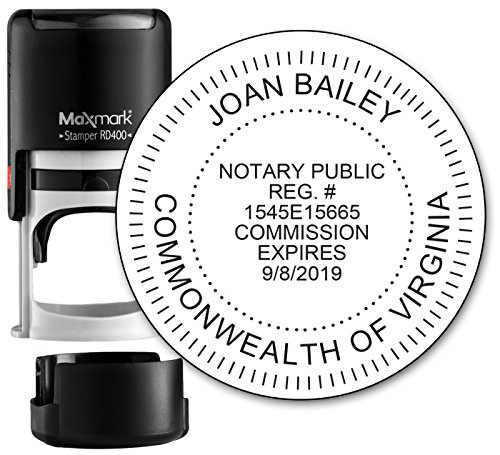 Round Notary Stamp for State of Virginia- Self Inking Stamp - Top Brand Unit with Bottom Locking Cover for Longer Lasting Stamp - 5 Year Warranty - Locking Unit