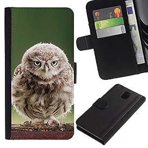 KLONGSHOP // Tirón de la caja Cartera de cuero con ranuras para tarjetas - Fluffy búho del bebé - Samsung Galaxy Note 3 III //