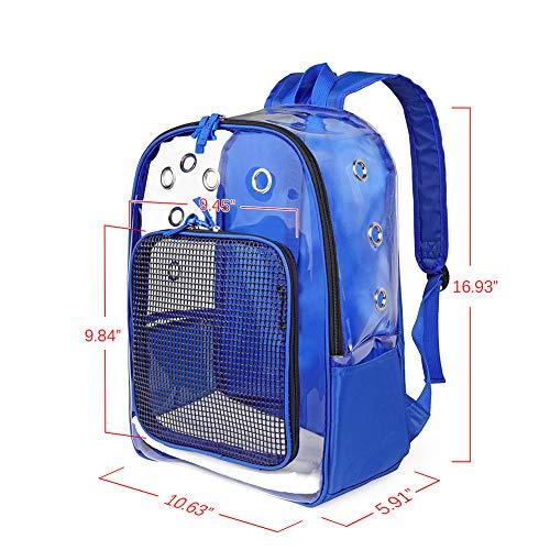 YUDODO Blue Pet Clear Carrier Backpack Adjustable Transparent Pet Cat Dog Backpack Carrier Travel Bag for Small Animals, Designed for Walking, Outdoor Use