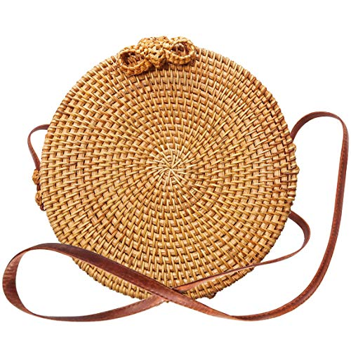Round Rattan Bali Bag - Handwoven Crossbody Straw Bags for Women - Boho & Chic Shoulder Beach Tote - Vegan Straps (Bags Rattan Bali)