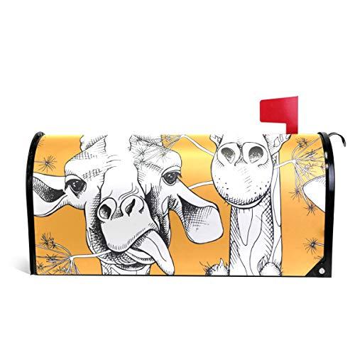 senya Magnetic Large Size Mailbox Cover Giraffes Munching Grass, Oversized
