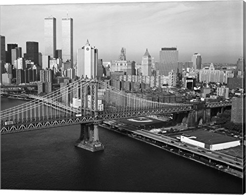 New York City Twin Tower - Manhattan Bridge with Twin Towers Behind by Print Collection Canvas Art Wall Picture, Gallery Wrap, 20 x 16 inches