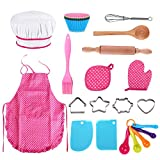 25Pcs Chef Set for Kids, Kitchen Cooking and Baking Kits, Dress Up Role Play Toys, Apron, Chef Hat, Oven Mitt, Wooden Spoon, Cookie Cutters, Silicone Cupcake Moulds for Little Girls Gift - Pink