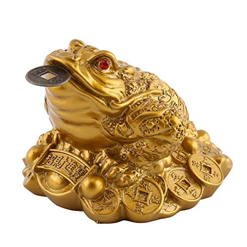 Wal front Chinese Feng Shui Money Frog Wealth Lucky Money Frog Coin Toad for for Prosperity Home Office Decoration Good Lucky Gift(S) ()