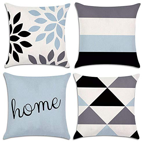 Throw Pillow Covers Decorative Cushion Covers Geometric Pattern Home Decor 4 Pack Linen Pillowcase for Couch/Bed/Sofa Pillow Cover 18 x 18 inch (Pillows Couch Clearance)