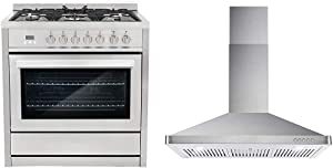 Cosmo COS-F965NF Commercial-Style 36, Stainless Steel & 63190 36 in. Wall Mount Range Hood with Ductless Convertible Duct, Kitchen Chimney-Style Over Stove Vent, 3 Speed Exhaust Fan, Stainless Steel