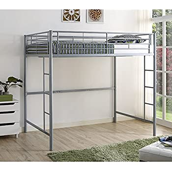 Amazoncom New Silver Metal Full Size Loft Bed Kitchen Dining