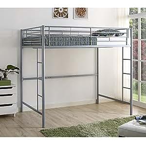 new silver metal full size loft bed kitchen dining. Black Bedroom Furniture Sets. Home Design Ideas