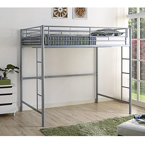 WE Furniture BDOLSL Premium Metal Full Size Loft Bed-Silver