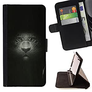 BullDog Case - FOR/Sony Xperia M2 / - / big cat portrait painting drawing portrait leopard /- Monedero de cuero de la PU Llevar cubierta de la caja con el ID Credit Card Slots Flip funda de cuer