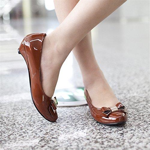 cuña odetina formal Marrón zapatos Casual Mujer Slip lazo tacones de senderismo Charol lindo On redonda puntera BZ0qwrFB
