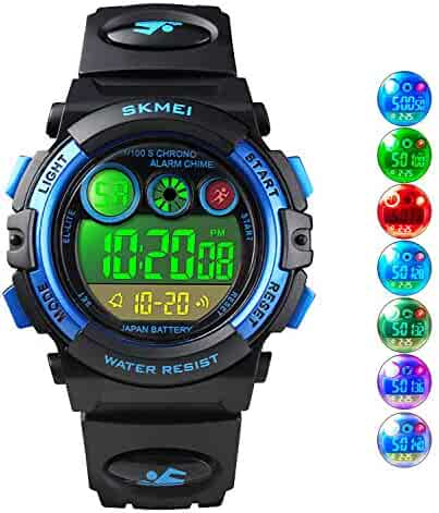Boys Sport Digital Watch Kids Multifunction Outdoor Watches Waterproof Electronic Running Fashion Girls Watch with LED Alarm Clock Stopwatch Calendar Date - Blue