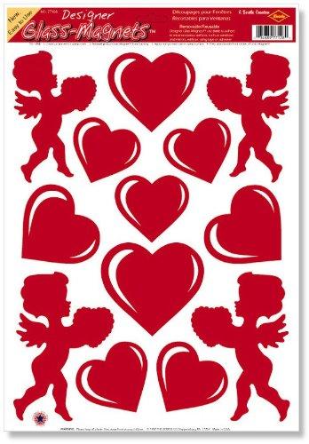 Beistle Company Unisex Adult Heart and Cupid Clings (1 sheet) Black Medium (Cupid Men Costume)
