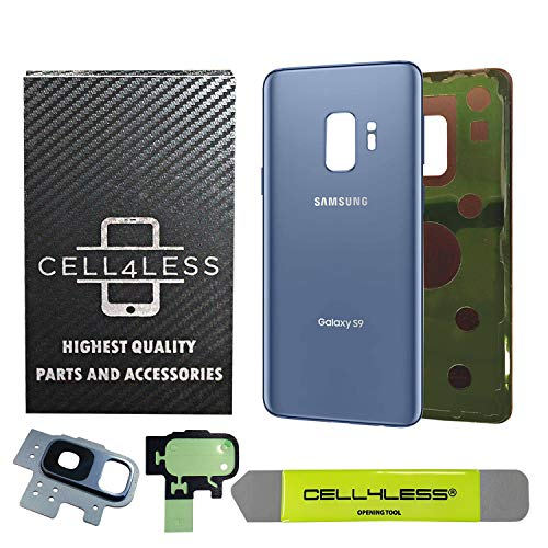CELL4LESS Compatible Back Glass Cover Back Battery Door w/Pre-Installed Adhesive - Removal Tool - Camera Lens for Samsung Galaxy S9 OEM - All Models G960 All Carriers- 2 Logo OEM Replacement (Blue) (Galaxy Mega Camera Lenses)