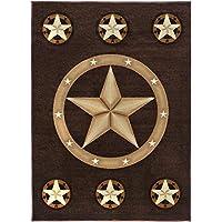 Champion Rugs Texas Western Star Rustic Cowboy Decor Novelty Area Rug Chocolate Brown (3 Feet 9 Inch X 5 Feet 2 Inch)