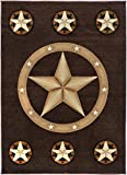 Cheap Champion Rugs Texas Star Western Chocolate Area Rug Design #CR83 (5 Feet X 7 Feet)