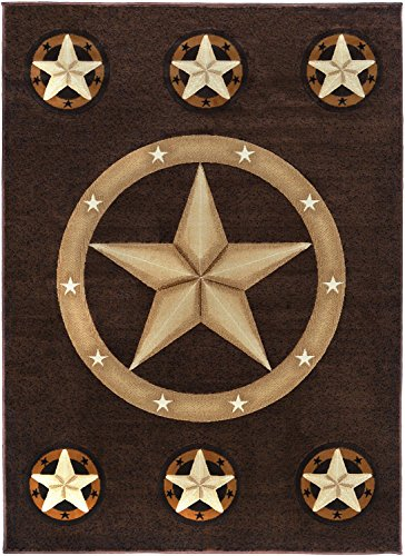 Texas Star Western Brown Area Rug #CR85 (8 Feet X 10 Feet)