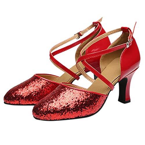 Rojo Scarpe 5cm Da Scivolo Anti Standard Principessa 5 Sandali Donna Paillettes Serie Eleganti Baotou Latino amp;bambina Tacco Sala 7cm Ballo g1EwpHxq