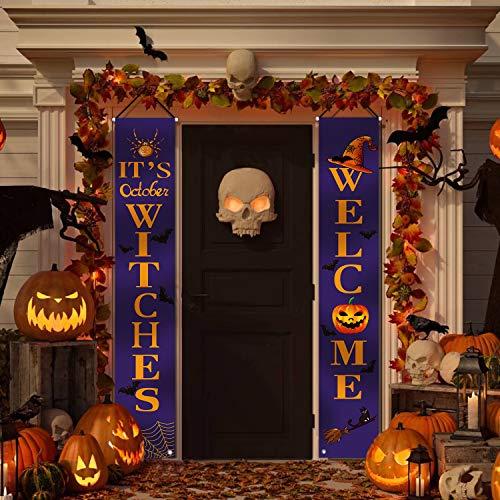 ORIENTAL CHERRY HalloweenDecorationsOutdoor-WelcomeIT'SOctoberWitchesLargeBannersPorchSigns-WitchDecorforHomeOutsideDoorYardGardenPartyApartment