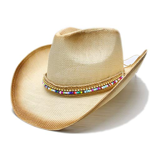 Men's Western Straw Hat Women Fashion Straw Western Cowboy Hat with DIY Handmade Weave Lady Dad Sombrero Hombre Cowgirl Jazz for Summer Travel Beach Costume Party (Color : Natural, Size : 58cm)]()